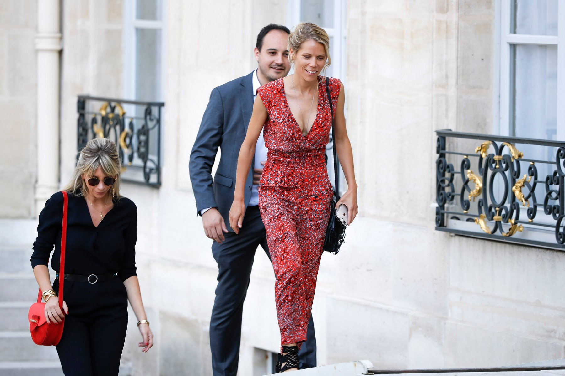 Tiphaine Auziere, Laurence Auzičre-Jourdan and it husband during the reception of the French team at Elysee after winning the 2018 FIFA World Cup Russia on July Monday 16, 2018 in Paris, France, Europe - Photo Stephane Allaman / KCS PRESSE, Image: 378041394, License: Rights-managed, Restrictions: , Model Release: no, Credit line: Profimedia, KCS Presse