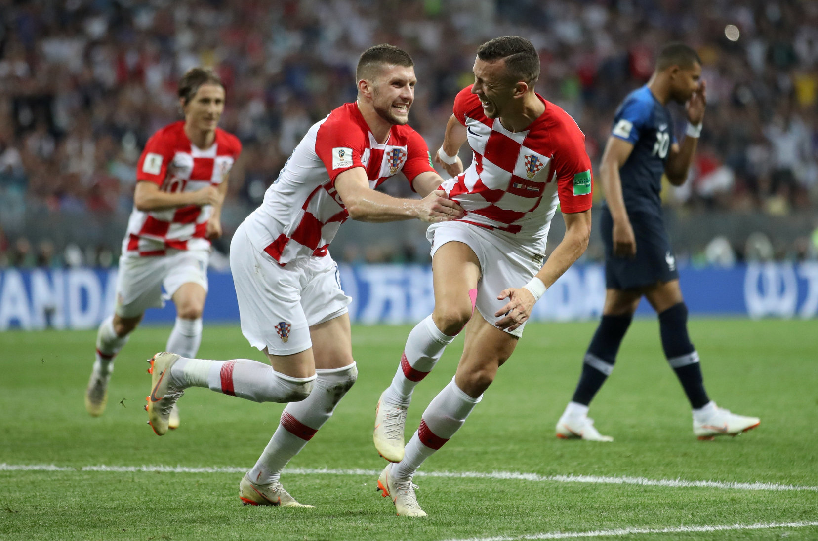 Soccer Football - World Cup - Final - France v Croatia - Luzhniki Stadium, Moscow, Russia - July 15, 2018  Croatia's Ivan Perisic celebrates scoring their first goal with Ante Rebic    REUTERS/Carl Recine