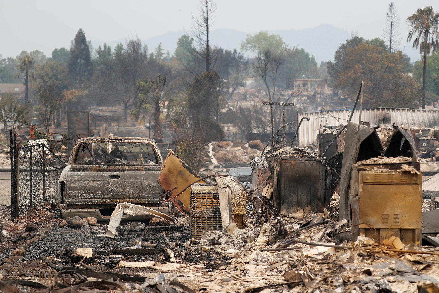 A charred neighborhood destroyed by the Carr Fire is seen west of Redding, California, U.S. July 27, 2018.  REUTERS/Fred Greaves      TPX IMAGES OF THE DAY