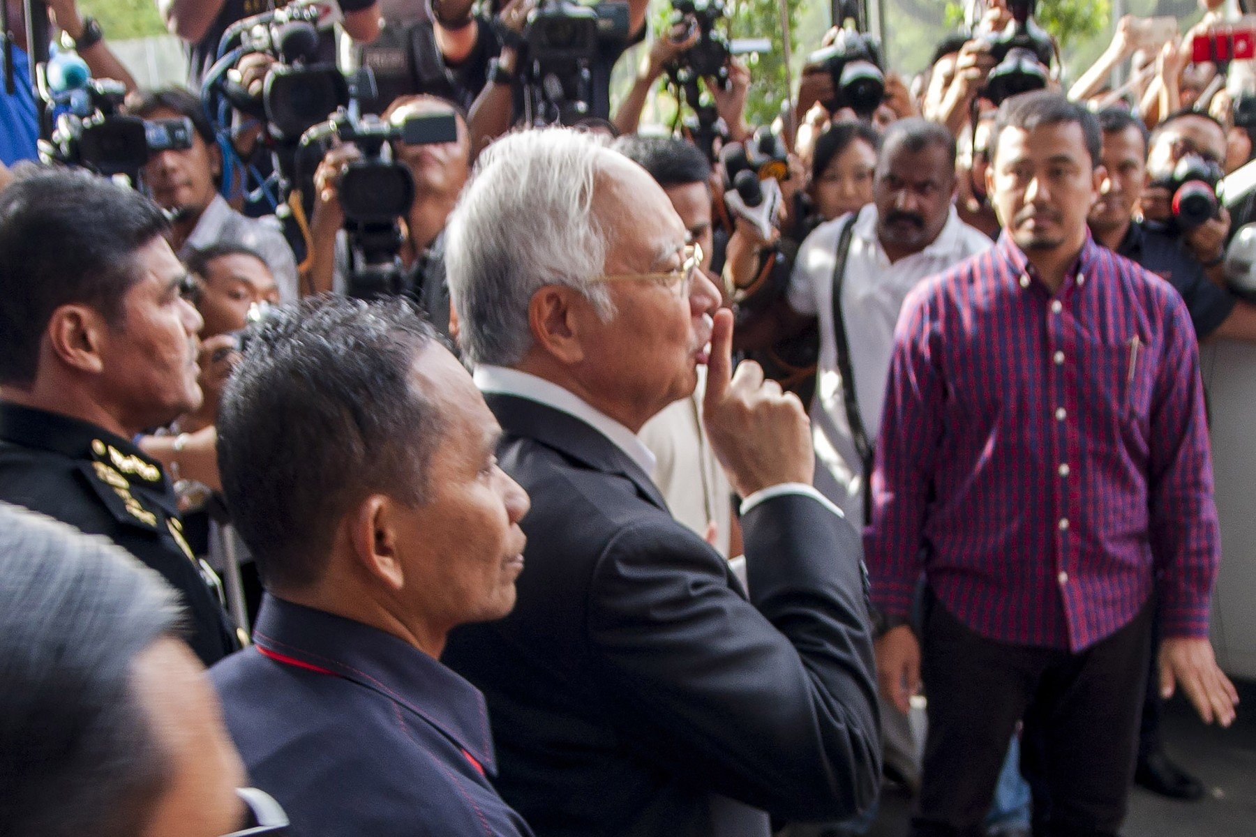 May 24, 2018 - Kuala Lumpur, Malaysia - The former Malaysia prime minister, Najib Razak seen with a quiet hand gesture at the MACC headquarters after gave his second statement about the 1Malaysia Development Bhd...Najib Razak the former Malaysia prime minister has summoned by the Malaysia Anti Corruption Commission (MACC) to give a statement about 1Malaysian Development Bhd (1MDB) since the Prime Minister's Office had announced to setting up of the 1MDB Investigation Task Force., Image: 372850452, License: Rights-managed, Restrictions: , Model Release: no, Credit line: Profimedia, Zuma Press - News