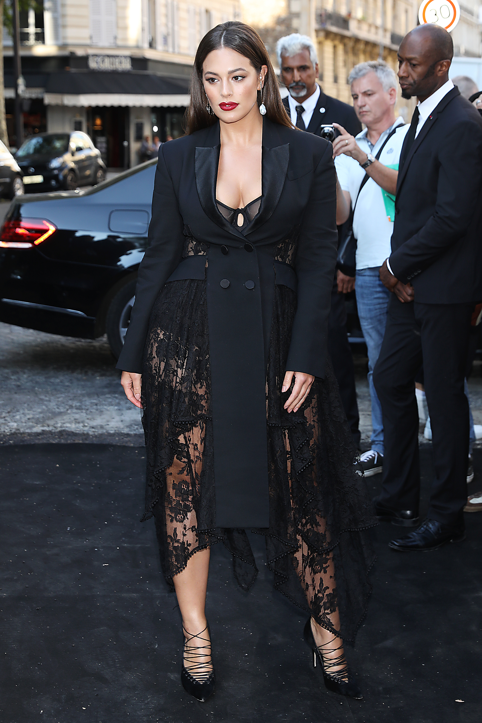 Ashley Graham seen arriving at Vogue Foundation Party during Haute Couture Week Autumn Winter 2018 / 2019 in Paris  Pictured:  Ref: SPL5008000 030718 NON-EXCLUSIVE Picture by: MCFR / SplashNews.com  Splash News and Pictures Los Angeles: 310-821-2666 New York: 212-619-2666 London: 0207 644 7656 Milan: +39 02 4399 8577 Sydney: +61 02 9240 7700 photodesk@splashnews.com  World Rights