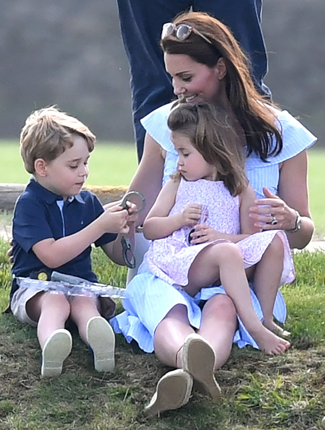 The Duchess of Cambridge, Prince George and Princess Charlotte watch The Duke of Cambridge play in The Maserati Royal Charity Polo Trophy at Beaufort Polo Club, Tetbury, Gloucestershire, UK, on the 10th June 2018. 10 Jun 2018, Image: 374557217, License: Rights-managed, Restrictions: NO United Kingdom, Model Release: no, Credit line: Profimedia, Mega Agency
