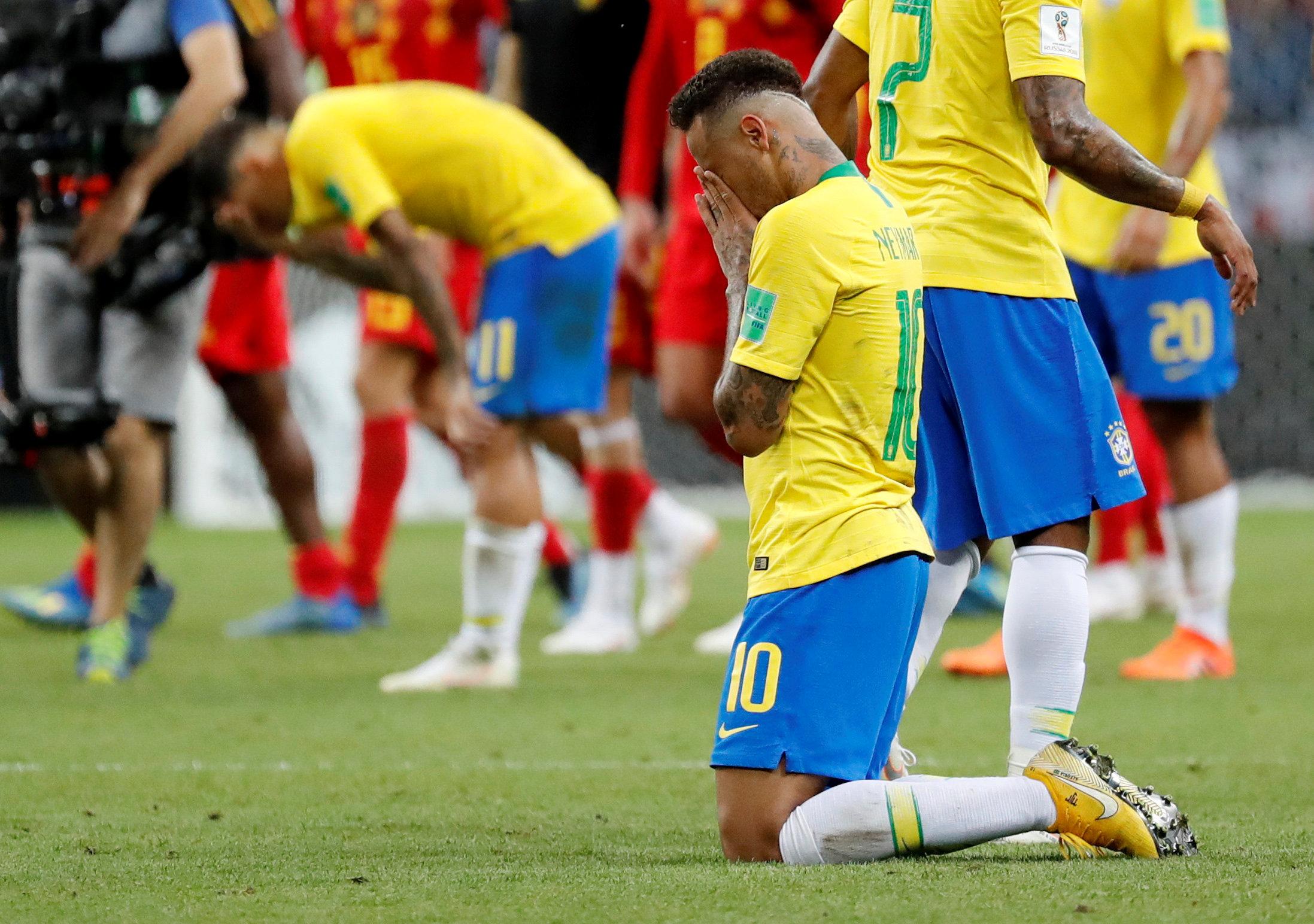 Soccer Football - World Cup - Quarter Final - Brazil vs Belgium - Kazan Arena, Kazan, Russia - July 6, 2018  Brazil's Neymar looks dejected at the end of the match   REUTERS/Toru Hanai