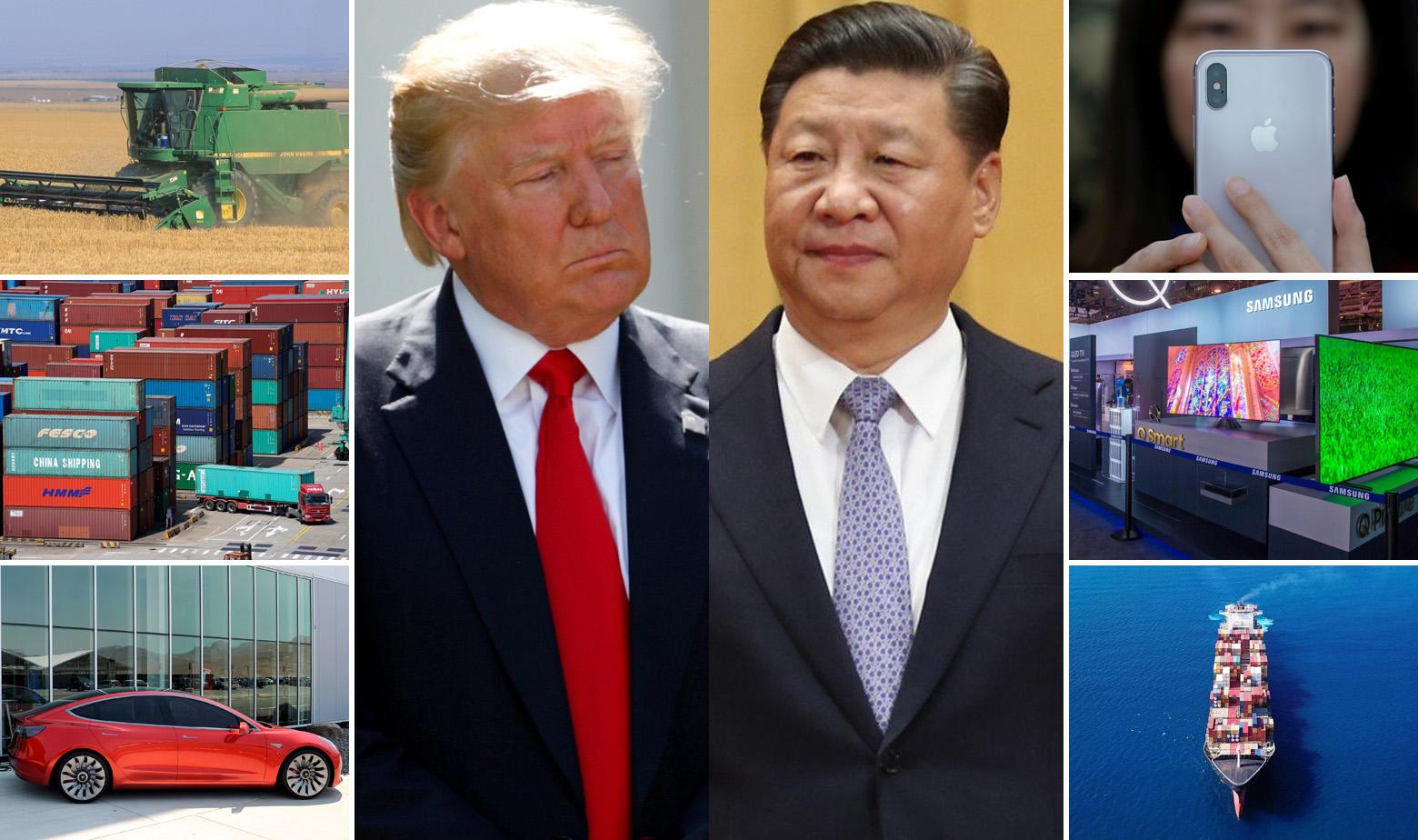 Ilustracija: grane ekonomije i proizvodi kojima će naškoditi trgovinski rat, u sredini Donald Trump i Xi Jinping