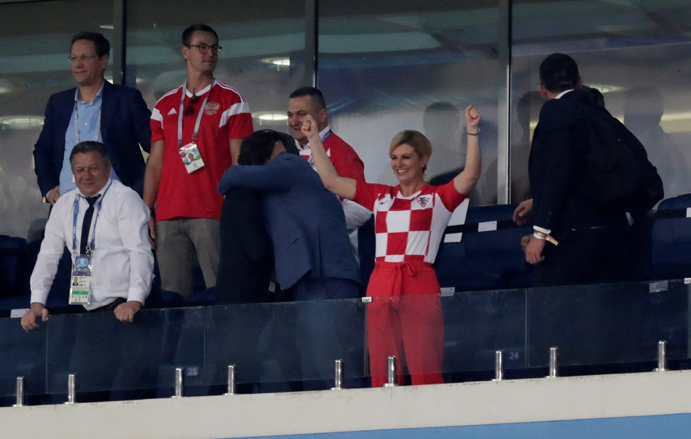 Soccer Football - World Cup - Quarter Final - Russia vs Croatia - Fisht Stadium, Sochi, Russia - July 7, 2018  Croatia president Kolinda Grabar-Kitarovic celebrates in the stand after winning the penalty shootout   REUTERS/Henry Romero