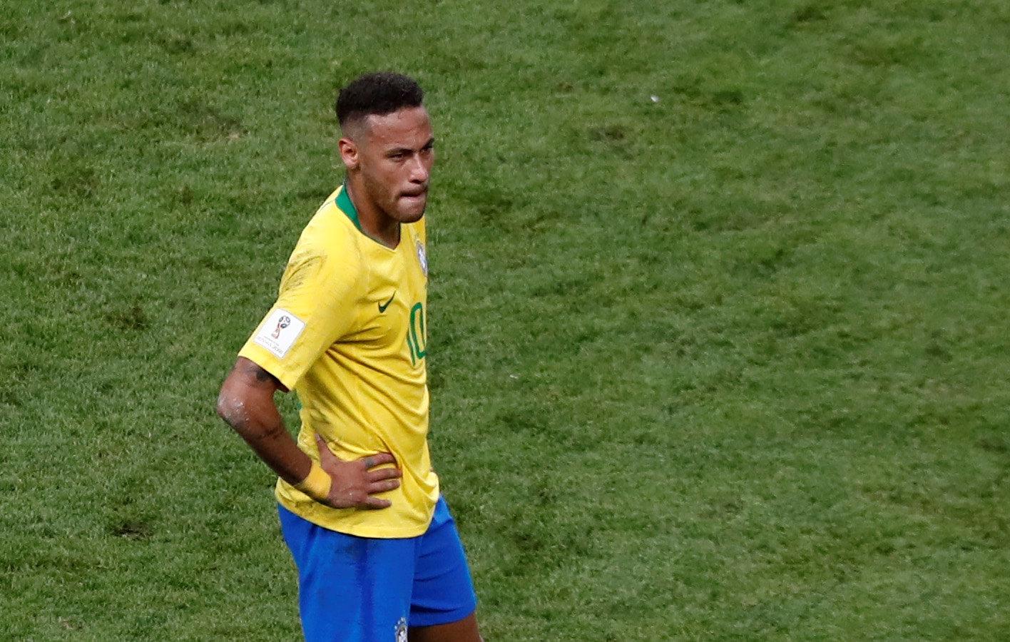 Soccer Football - World Cup - Quarter Final - Brazil vs Belgium - Kazan Arena, Kazan, Russia - July 6, 2018  Brazil's Neymar looks dejected after the match   REUTERS/Murad Sezer
