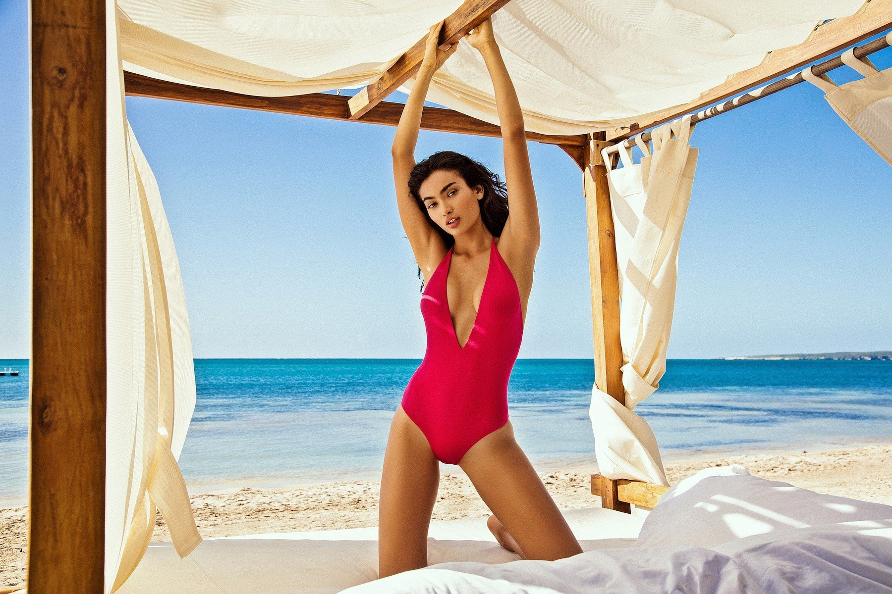 Shes posed for some of the hottest brands and mags on the planet  and for her latest turn, Australian-Swedish-Indian model Kelly Gale looks out of this world. The 23-year-old Chanel, Victorias Secret and Sports Illustrated Swimsuit star has now been snapped up by Italian brand Yamamay, and is seen here duly modeling some swimsuits from the summer 2018 collection. Posing in front of palm trees, the ocean in the background, and sitting on a wooden dock, Kelly strike some seriously sexy poses for the Puerto Rico campaign, which is also raising awareness about the environment with a #savetheocean hashtag. And if we are to expect more shots of Kelly posing in her bikini by the ocean, then its certainly worth saving. 30 May 2018, Image: 373412034, License: Rights-managed, Restrictions: World Rights, Model Release: no, Credit line: Profimedia, Mega Agency