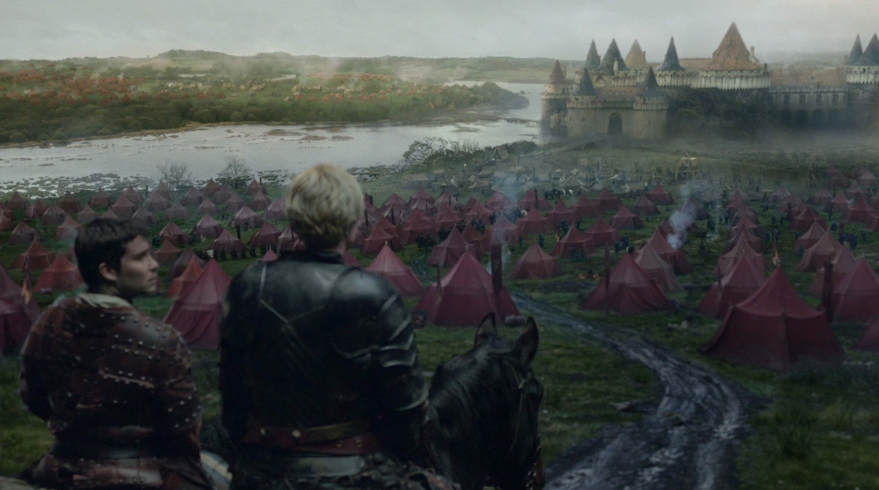 Los Angeles.CA.USA. Gwendoline Christie as Brienne of Tarth and Daniel Portman as Podrick Payne in a scene  at Riverrun in the ©HBO TV series,  Game of Thrones,  (TV) (2016) (S6E8)., Image: 291262907, License: Rights-managed, Restrictions: Supplied by Landmark Media. Editorial Only. Landmark Media is not the copyright owner of these Film or TV stills but provides a service only for recognised Media outlets., Model Release: no, Credit line: Profimedia, Landmark