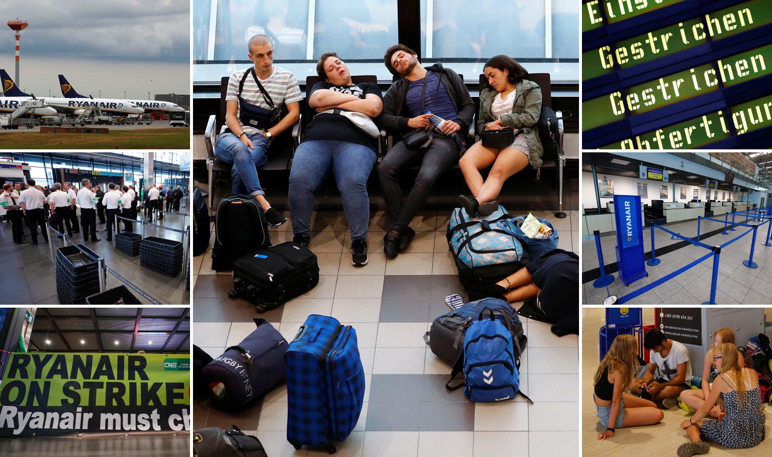 Fotografije iz zračnih luka u Njemačkoj, Belgiji i Hrvatskoj (Pula) na dan štrajka pilota i osoblja Ryanaira