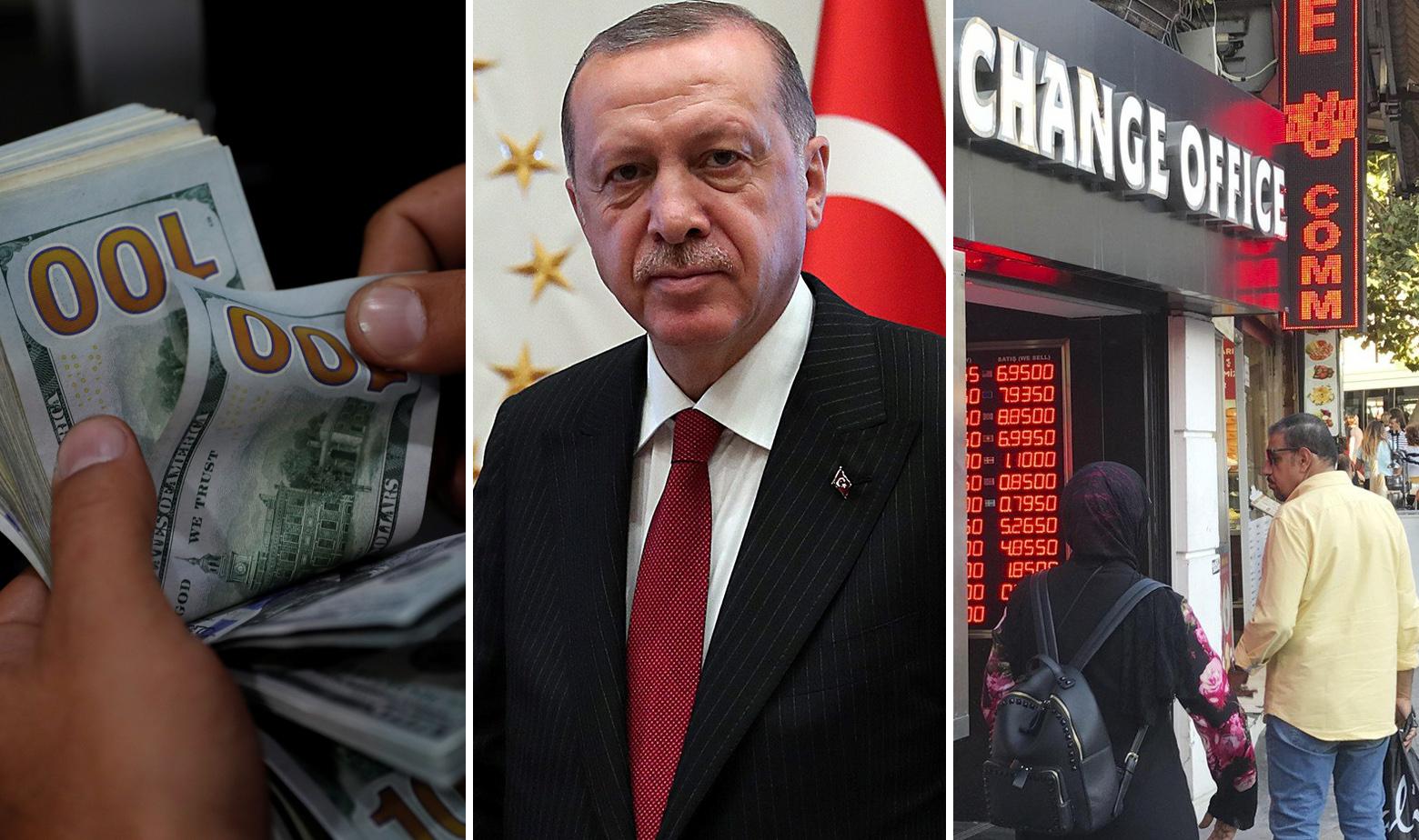 Turska lira, Recep Tayyip Erdogan i mjenjačnica u Turskoj