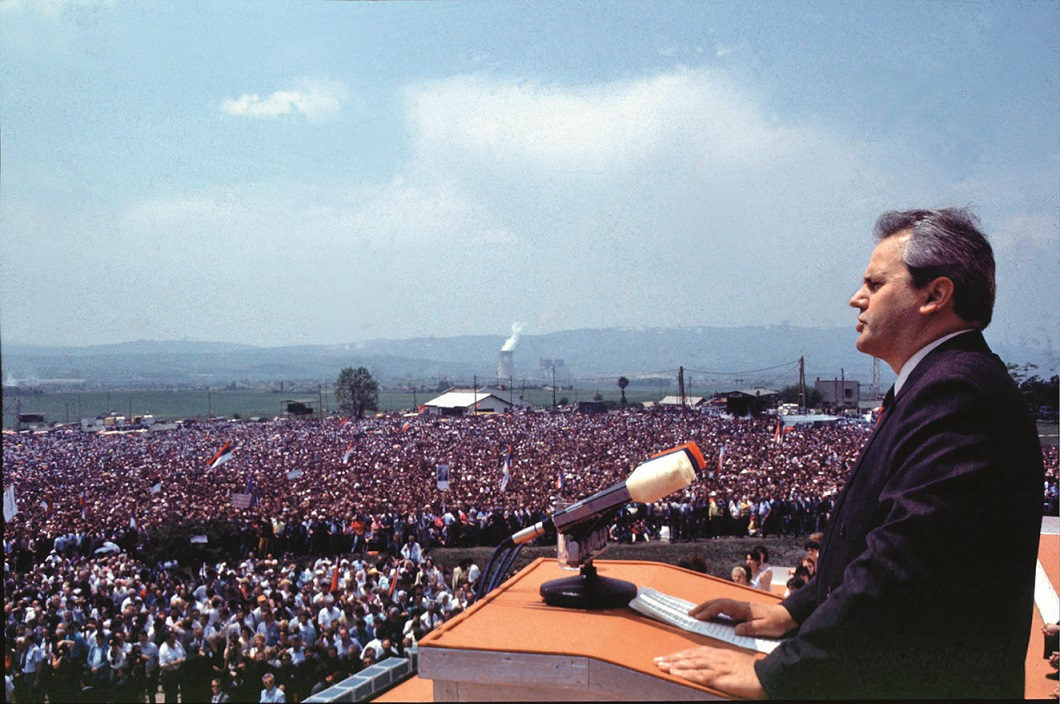 1991, Kosovo, Yugoslavia: President Slobodan Milosevic addresses the crowd outside of Pristina to commerorate the 600th anniversary of the defeat of the Turks in Kosovo. Milosevic, the former Yugoslav leader who orchestrated the Balkan wars of the 1990s and was on trial for war crimes, was found dead in his prison cell at the U.N. detention center near The Hague. He was 65.., Image: 18001220, License: Rights-managed, Restrictions: , Model Release: no, Credit line: Profimedia, Polaris