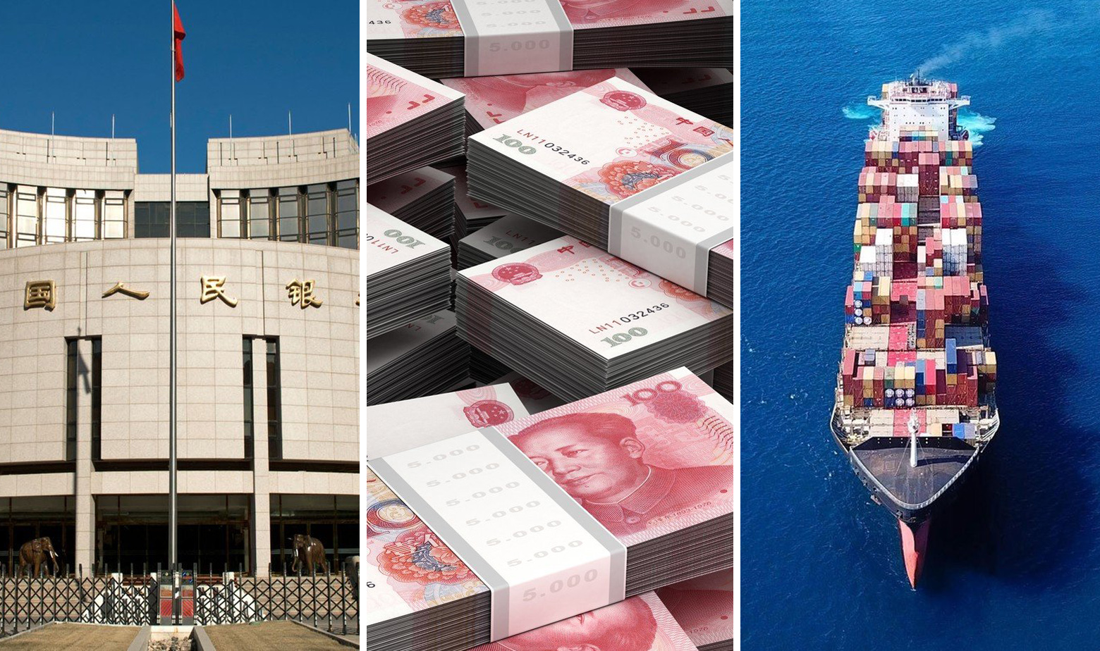 Ilustracija - Kineska narodna banka, novčanice juana i teretni brod