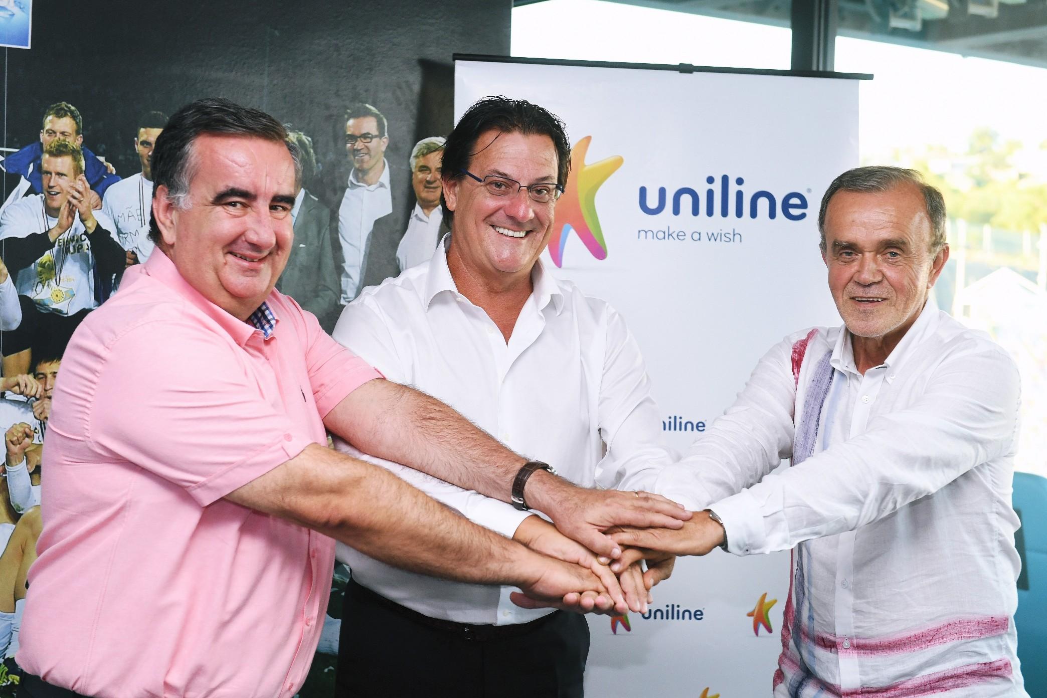 Boris Žgomba, predsjednik Uprave Unilinea, Damir Mišković, predsjednik HNK Rijekei Sajto Salković, prokurist Unilinea