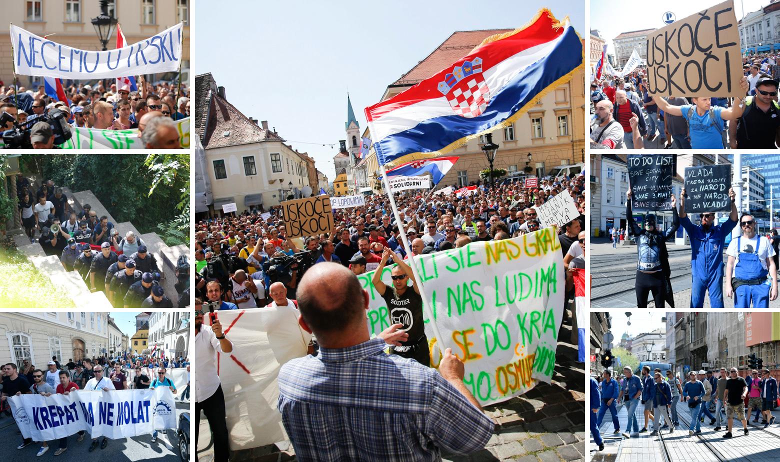 Scene s prosvjeda radnika Uljanika i 3. maja u Zagrebu