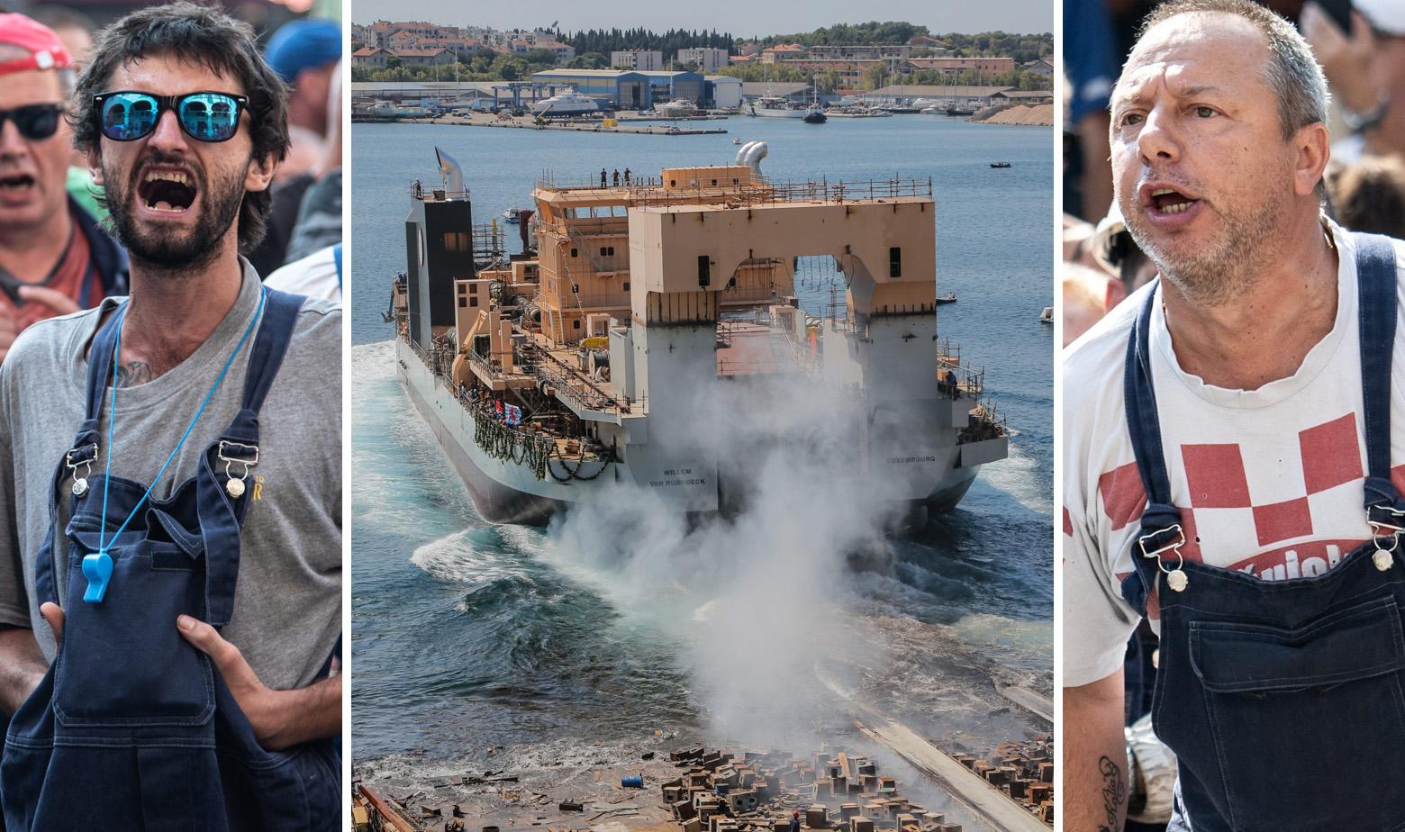 Radnici Uljanika tijekom štrajka i jaružalo koje je u brodogradilištu porinuto prošle godine