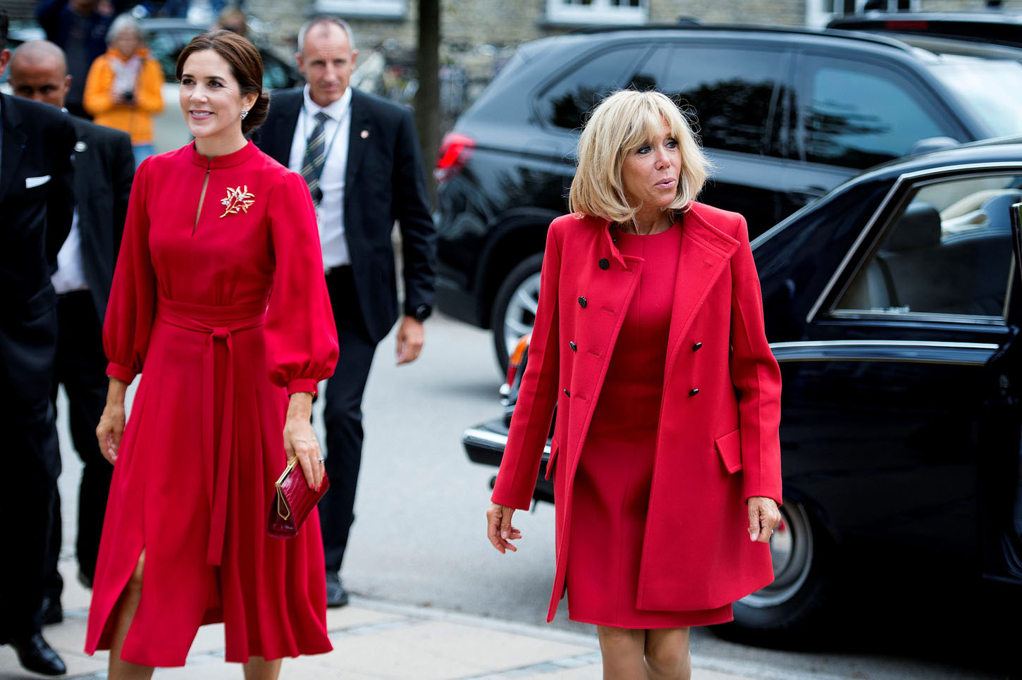 Brigitte Macron and Crown Princess Mary of Denmark visit the Royal Danish Academy of Fine Arts in Copenhagen, Denmark August 28, 2018.   Liselotte Sabroe/Ritzau Scanpix/via REUTERS    ATTENTION EDITORS - THIS IMAGE WAS PROVIDED BY A THIRD PARTY. DENMARK OUT.