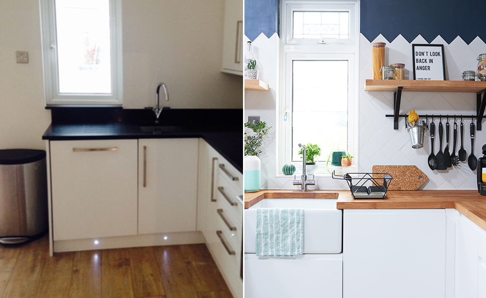 Kitchen-makeover-white-units-herringbone-metro-tiles-blue-walls-split