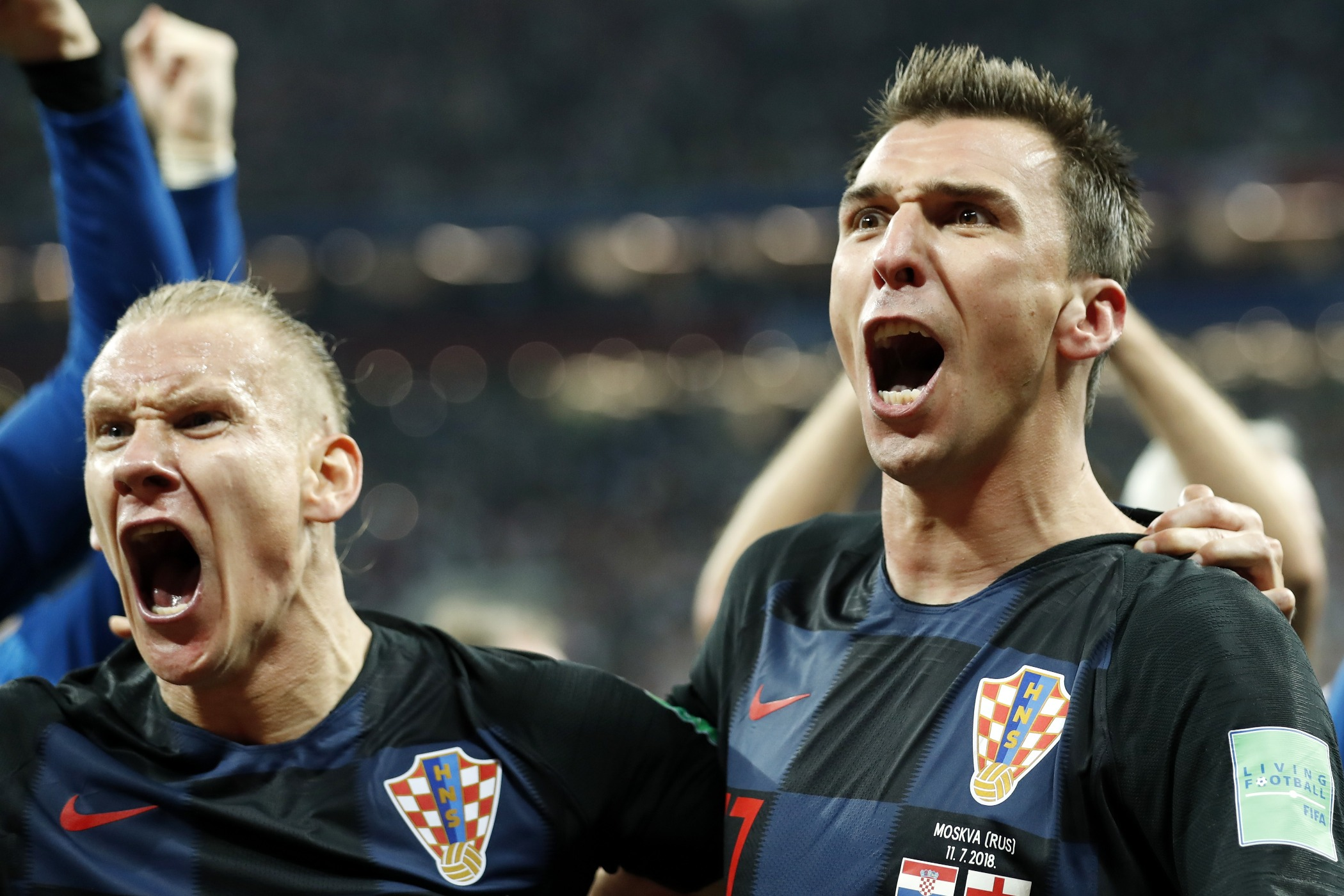 (l-r) Domagoj Vida of Croatia, Mario Mandzukic of Croatia during the 2018 FIFA World Cup Russia Semi Final match between Croatia and England at the Luzhniki Stadium on July 01, 2018 in Moscow, Russia(Photo by VI Images via Getty Images)