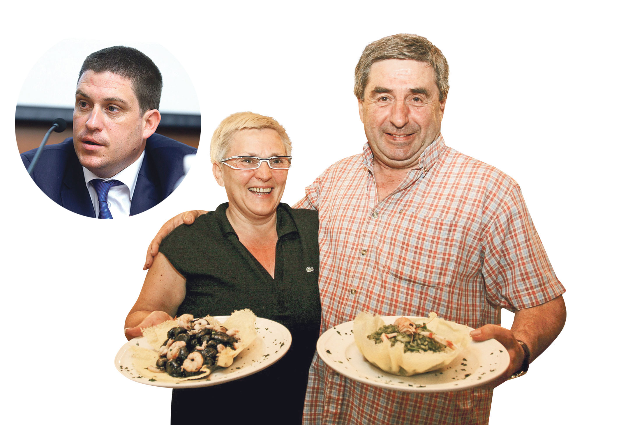 Emilija Mandukić Butković i Srećko Butković; ministar Oleg Butković (u krugu)