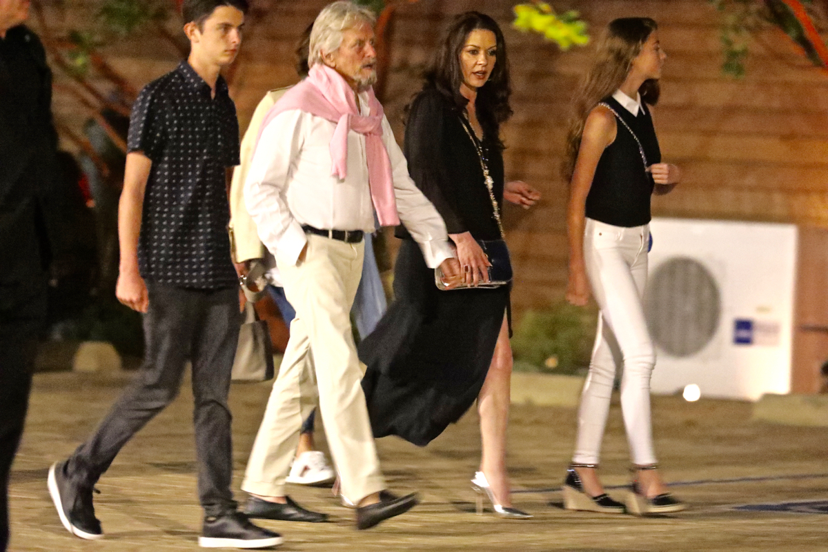 Catherine Zeta-Jones, her husband Michael Douglas and their kids spotted at Nobu in Malibu, Los Angeles.  Pictured: Catherine Zeta-Jones,Michael Douglas,Catherine Zeta-Jones Michael Douglas Ref: SPL1532764 060717 NON-EXCLUSIVE Picture by: SplashNews.com  Splash News and Pictures Los Angeles: 310-821-2666 New York: 212-619-2666 London: 0207 644 7656 Milan: +39 02 4399 8577 Sydney: +61 02 9240 7700 photodesk@splashnews.com  World Rights