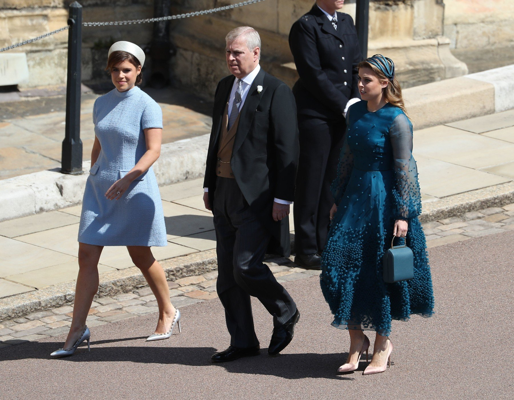Princess Eugenie (left), the Duke of York and Princess Beatrice arrive at St George's Chapel in Windsor Castle for the wedding of Prince Harry and Meghan Markle., Image: 372255035, License: Rights-managed, Restrictions: , Model Release: no, Credit line: Profimedia, Press Association