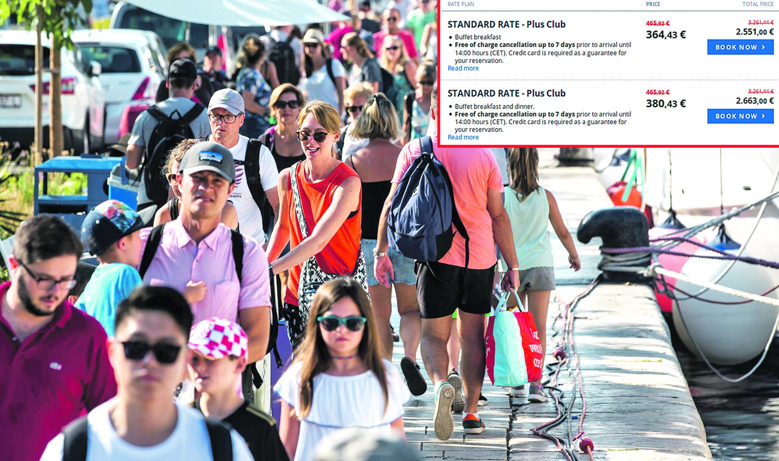 Ilustracija turista i sniženih cijena u jednom domaćem hotelskom lancu