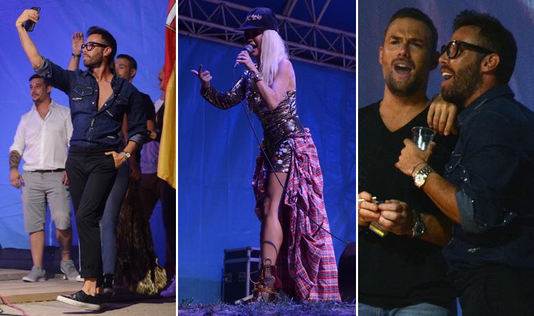 """Marko """"Modni mačak"""" Grubnić snima selfie tijekom nastupa Maje Šuput, Grubnić i zaručnik Maje Šuput Nenad Tatarinov uživaju u pjevačičinom nastupu (desno)"""