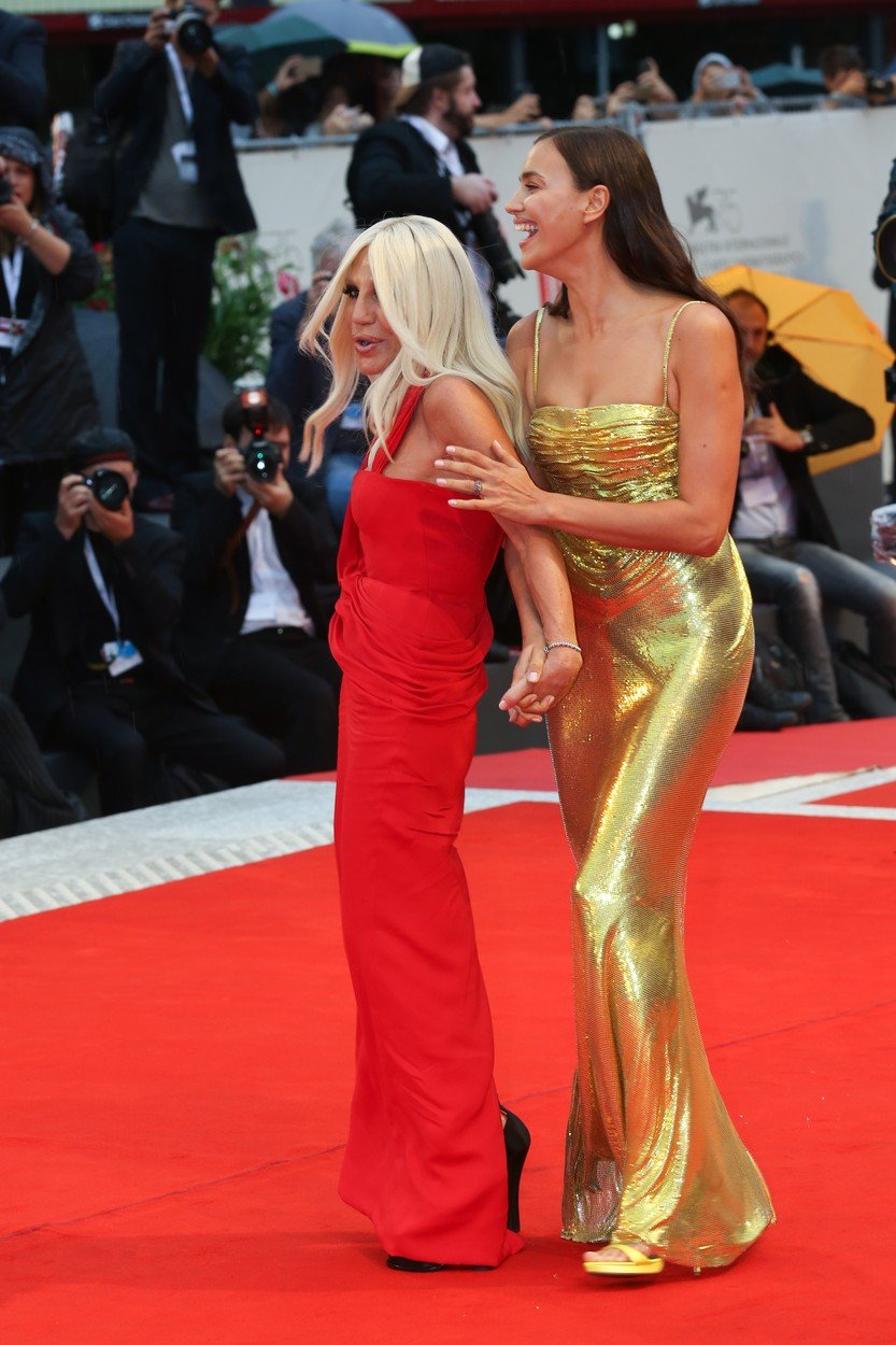 Irina Shayk and Donatella Versace attend the 'A Star Is Born' screening during the 75th Venice Film Festival at Sala Grande on August 31, 2018 in Venice, Italy., Image: 384848003, License: Rights-managed, Restrictions: WORLD RIGHTS - Fee Payable Upon Reproduction - For queries contact Avalon.red - sales@avalon.red London: +44 (0) 20 7421 6000 Los Angeles: +1 (310) 822 0419 Berlin: +49 (0) 30 76 212 251 Madrid: +34 91 533 4289, Model Release: no, Credit line: Profimedia, Uppa entertainment