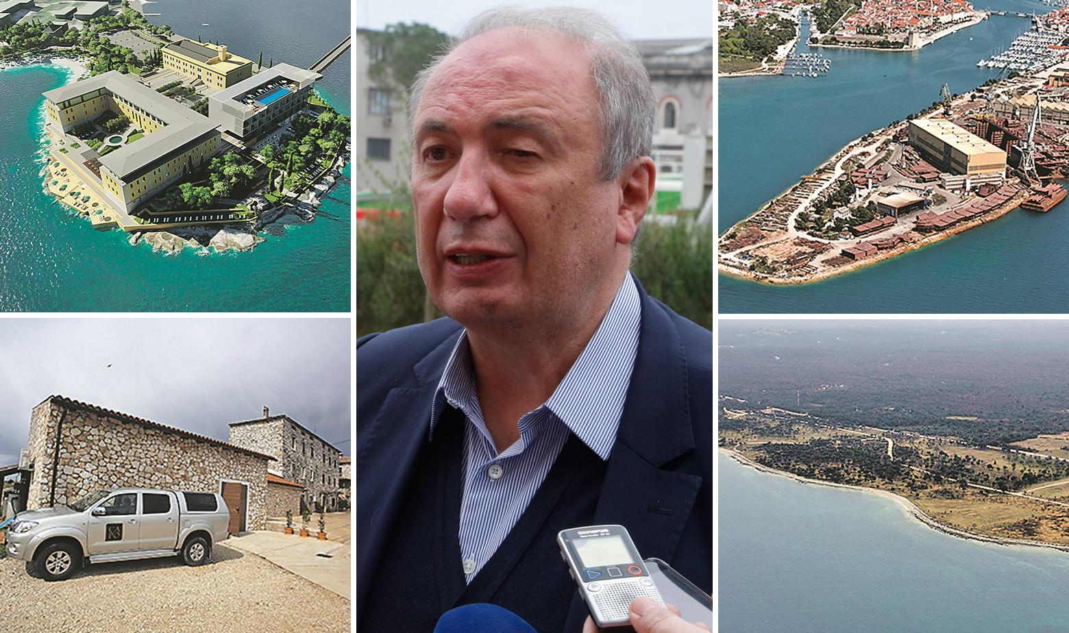 Danko Končar i slike projekta Svete Katarine, Vinarije Capo, Brodotrogira i zemljište u Barbarigi
