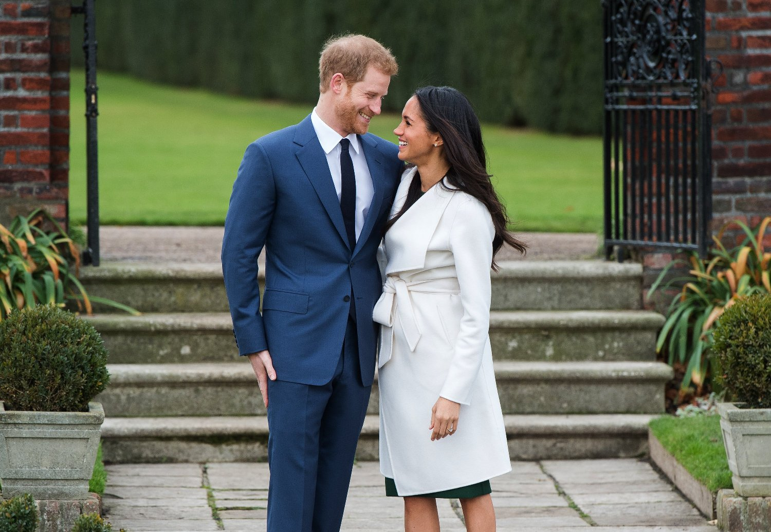 Prince Harry and Meghan Markle in the Sunken Garden at Kensington Palace, London, after the announcement of their engagement., Image: 356277546, License: Rights-managed, Restrictions: , Model Release: no, Credit line: Profimedia, Press Association