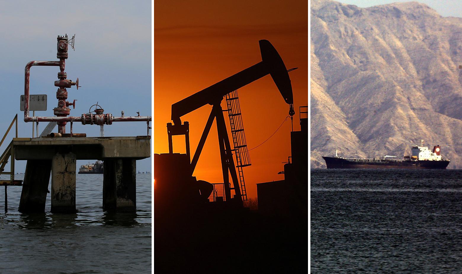 Ilustracija: naftno postrojenje u Venezueli, naftna bušotina u Sjevernoj Dakoti i tanker uz obalu Venezuele