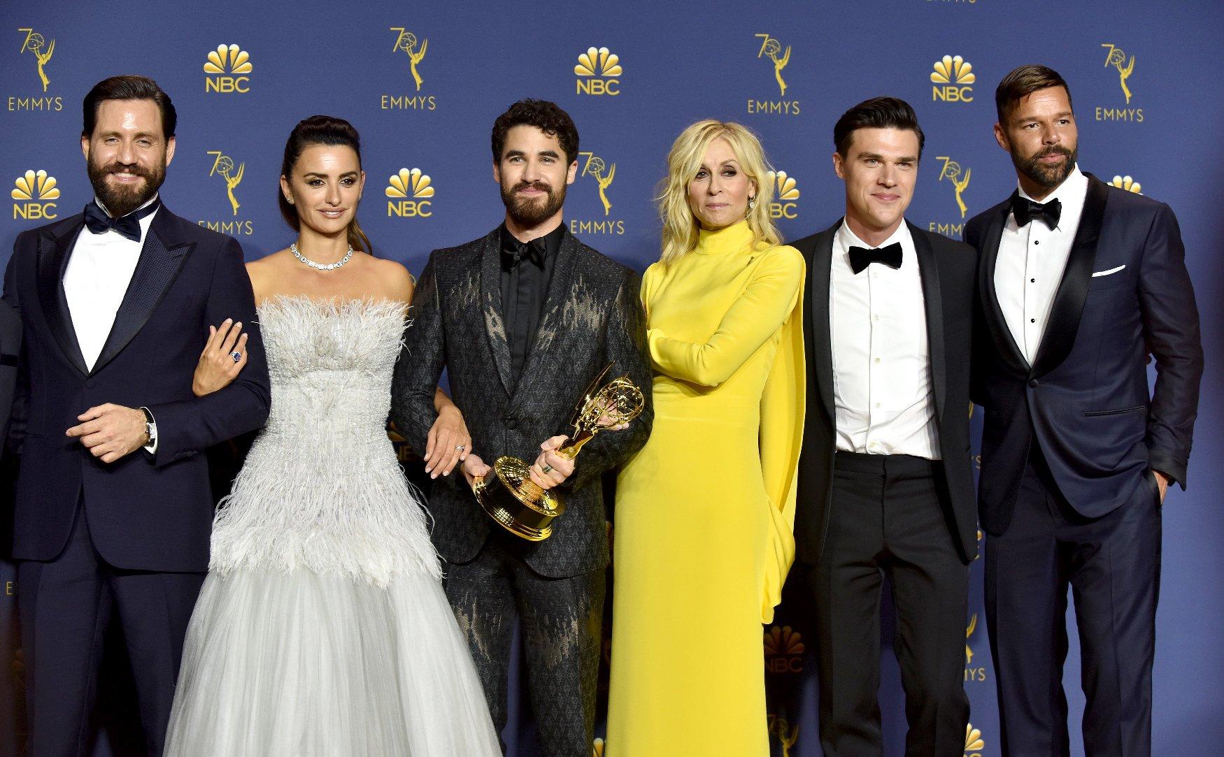 (L_R) Edgar Ramirez, Penelope Cruz, Darren Criss, Judith Light, Finn Wittrock and Ricky Martin, winners of the award for Outstanding Limited Series award for