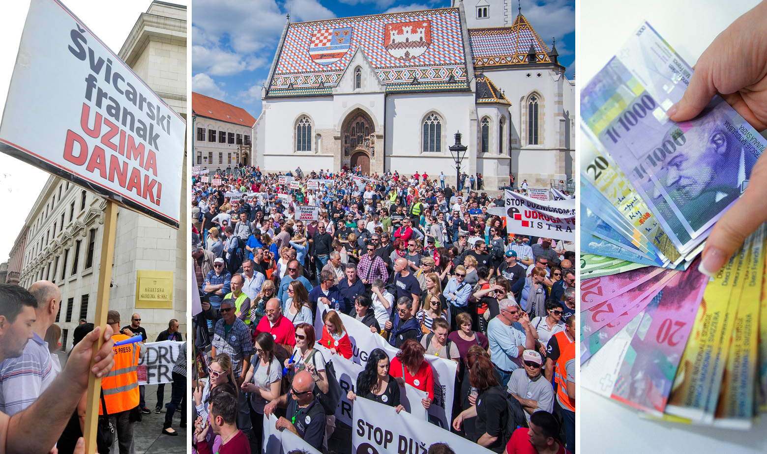 Ilustracija: prosvjed dužnika u francima i novčanice švicarskog franka