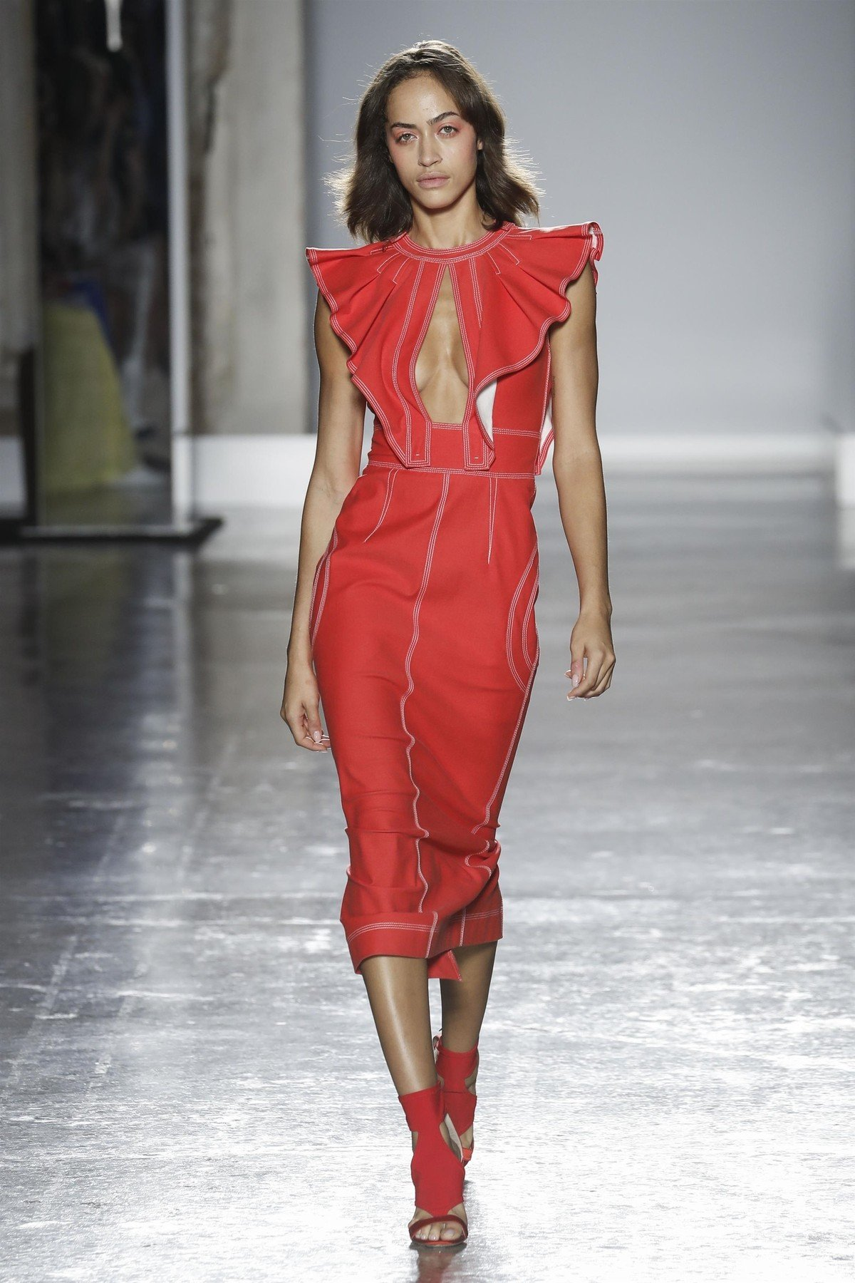 ** RIGHTS: WORLDWIDE EXCEPT IN AUSTRALIA, AUSTRIA, FRENCH POYNESIA, GERMANY, NEW ZEALAND ** Milan, ITALY  - Genny - Model On Catwalk during Milan Fashion Week 2019 Ready To Wear For Spring Summer.  Pictured: Genny    *UK Clients - Pictures Containing Children Please Pixelate Face Prior To Publication*, Image: 387631242, License: Rights-managed, Restrictions: , Model Release: no, Credit line: Profimedia, AKM-GSI