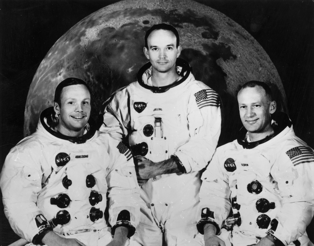 23rd June 1968:  Crew of the Apollo 11 lunar landing mission (left to right) Commander Neil Armstrong, command module pilot Michael Collins and lunar module pilot, Edwin Aldrin Jnr. Taken at the Manned Spacecraft Centre, Houston, Texas.  (Photo by Central Press/Getty Images)