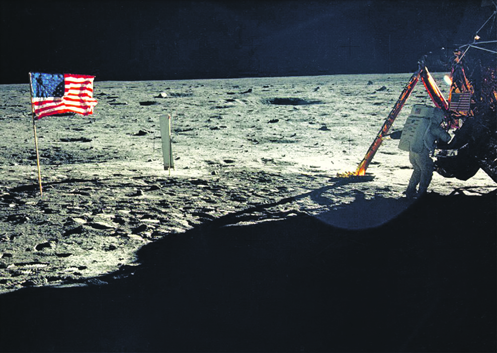 376713 16: (FILE PHOTO) One of the few photographs of Neil Armstrong on the moon shows him working on his space craft on the lunar surface. The 30th anniversary of the Apollo 11 Moon landing mission is celebrated July 20, 1999. (Photo by NASA/Newsmakers)