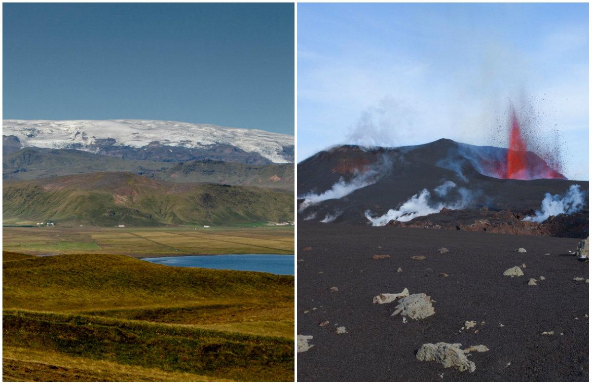 Island, planina Katla, erupcija vulkana, ilustracija.