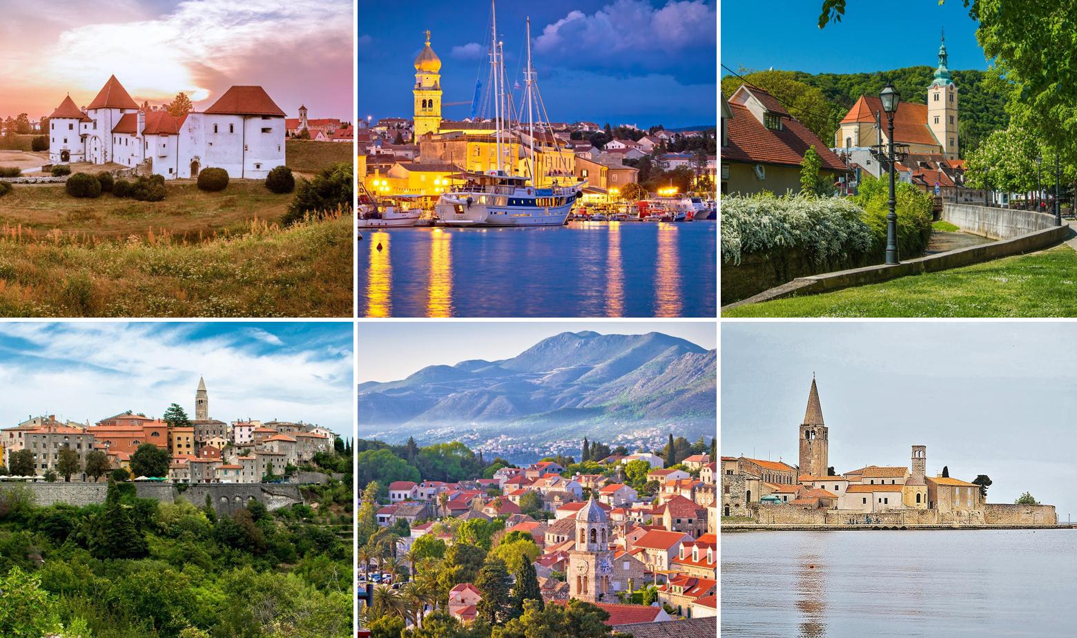 Gore: Varaždin, Krk, Samobor; Dolje: Labin, Dubrovnik, Poreč