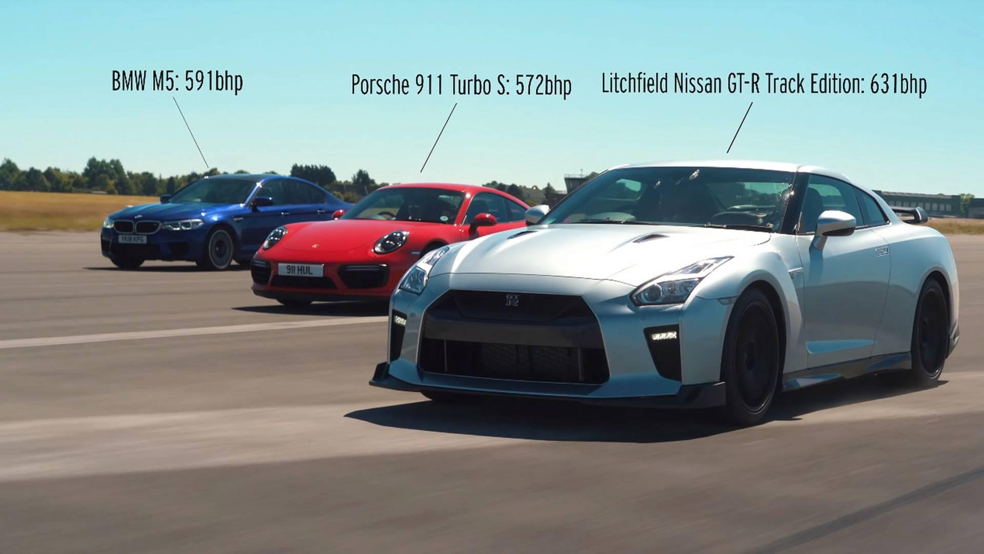 litchfield-nissan-gt-r-vs-bmw-m5-vs-porsche-911-turbo-s-drag-race