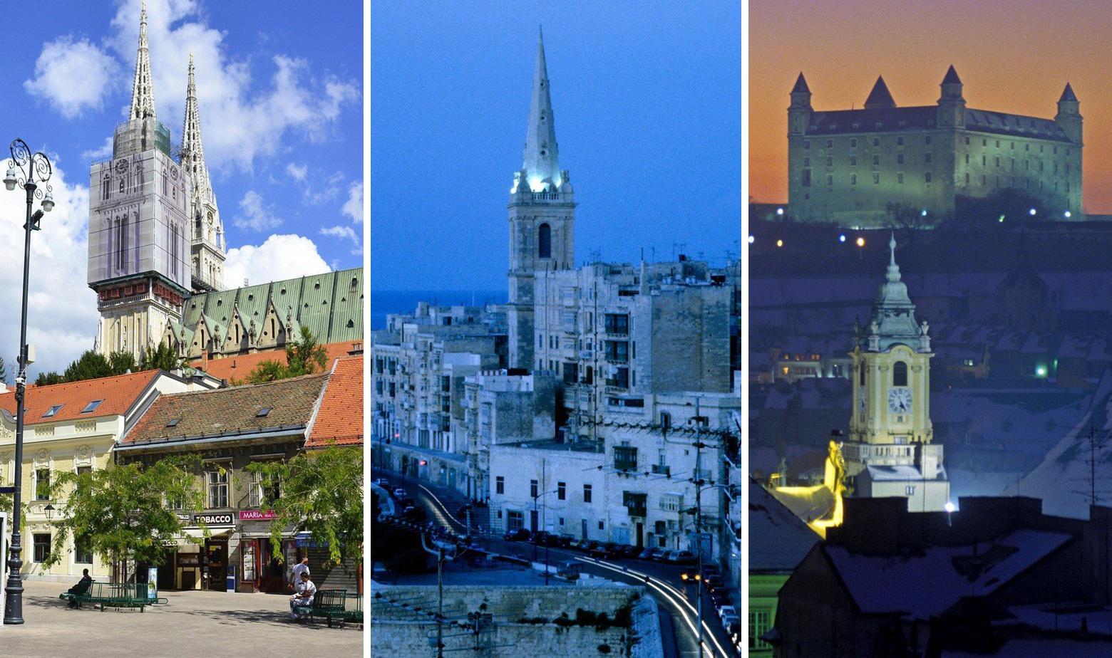 Zagreb, Valetta, Bratislava