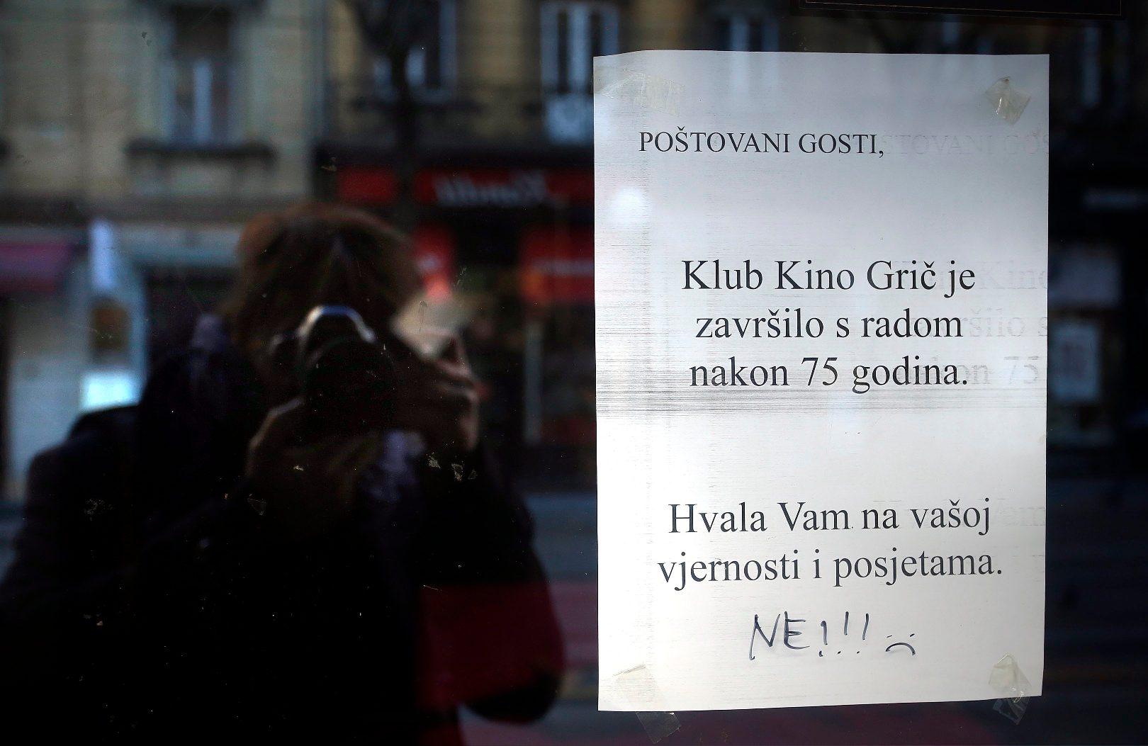Zagreb,120119. Jurisiceva ulica. Kino Gric nakon 75 godina prestaje s radom. Foto: Damjan Tadic / CROPIX