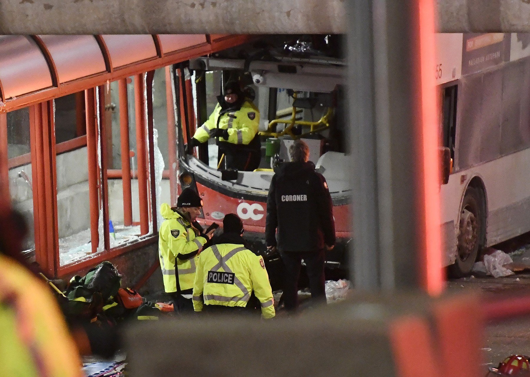 January 11, 2019 - Ottawa, on, Canada - Police and a first responders work at the scene where a double-decker city bus struck a transit shelter in Ottawa, on Friday, Jan. 11, 2019., Image: 406719632, License: Rights-managed, Restrictions: * Canada and U.S. RIGHTS OUT *, Model Release: no, Credit line: Profimedia, Zuma Press - News