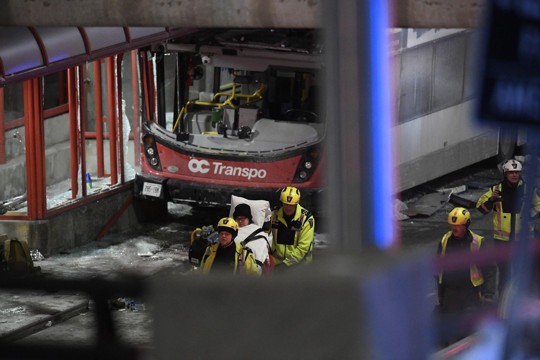 January 11, 2019 - Ottawa, on, Canada - Police and a first responders work at the scene where a double-decker city bus struck a transit shelter in Ottawa, on Friday, Jan. 11, 2019., Image: 406722649, License: Rights-managed, Restrictions: * Canada and U.S. RIGHTS OUT *, Model Release: no, Credit line: Profimedia, Zuma Press - News