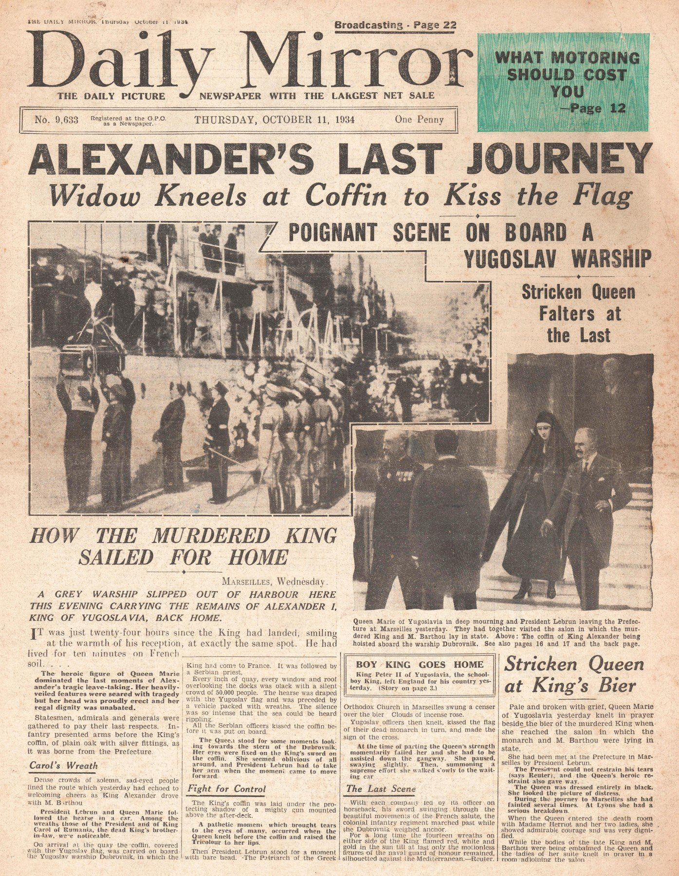 1934 Daily Mirror Assassination of King Alexander of Yugoslavia, Image: 318253588, License: Rights-managed, Restrictions: , Model Release: no, Credit line: Profimedia, Alamy