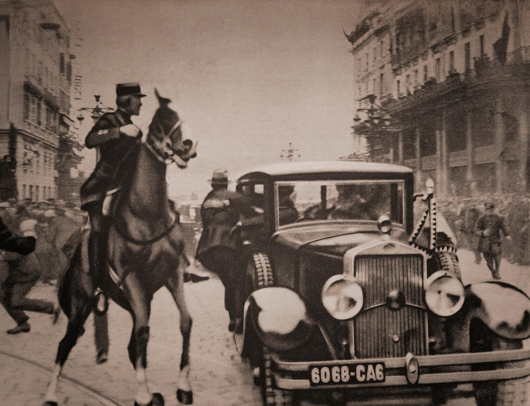 The assassination of Alexander I  on 9 October 1934. Also known as Alexander the Unifier, heserved as a prince regent of the Kingdom of Serbia from 1914 and later became King of Yugoslavia from 1921 to 1934 (prior to 1929 the state was known as the Kingdom of Serbs, Croats and Slovenes). He was assassinated in Marseille, France while being slowly driven through the streets along with French Foreign Minister Louis Barthou. The Bulgarian terrorist Vlado Chernozemski, of the pro-Bulgarian Internal Macedonian Revolutionary Organization (IMRO), stepped from the street and shot the King twice, and the chauffeur, with a Mauser C96 semiautomatic pistol. Alexander died in the car, slumped backwards in the seat, with his eyes open One of the bullets struck Foreign Minister Barthou in the arm, passing through and fatally severing an artery. He died of blood loss less than an hour later. The IMRO was a political organization that fought for secession of the region of Macedonia and becoming independent, as some form of second Bulgarian state., Image: 402979996, License: Rights-managed, Restrictions: , Model Release: no, Credit line: Profimedia, Alamy