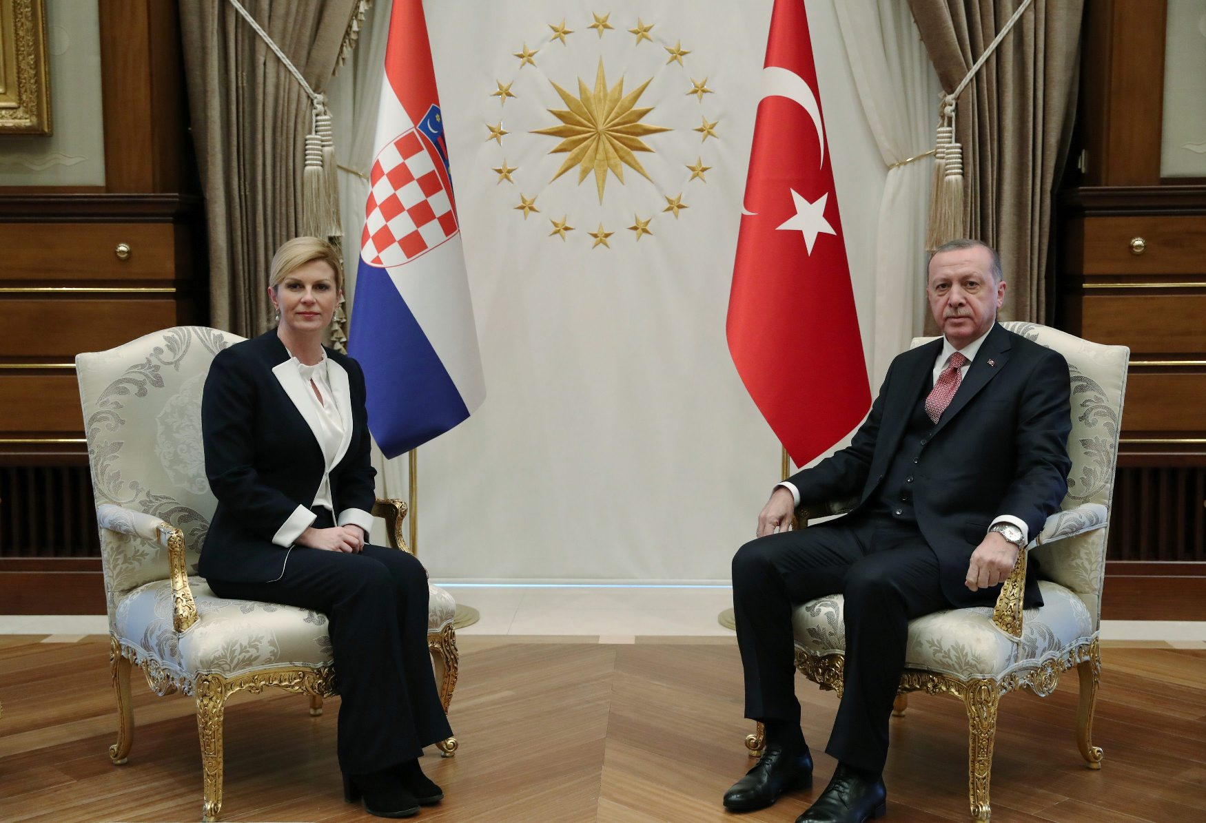 Turkish President Tayyip Erdogan meets with Croatian President Kolinda Grabar-Kitarovic in Ankara, Turkey January 16, 2019. Kayhan Ozer/Presidential Press Office/Handout via REUTERS ATTENTION EDITORS - THIS PICTURE WAS PROVIDED BY A THIRD PARTY. NO RESALES. NO ARCHIVE.