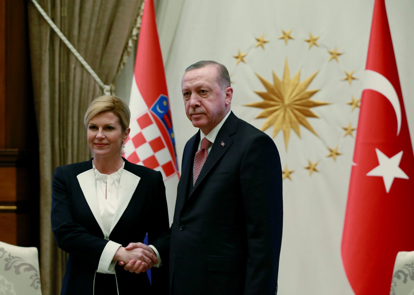 Turkish President Tayyip Erdogan meets with Croatian President Kolinda Grabar-Kitarovic in Ankara, Turkey January 16, 2019. Murat Cetinmuhurdar/Presidential Press Office/Handout via REUTERS ATTENTION EDITORS - THIS PICTURE WAS PROVIDED BY A THIRD PARTY. NO RESALES. NO ARCHIVE.