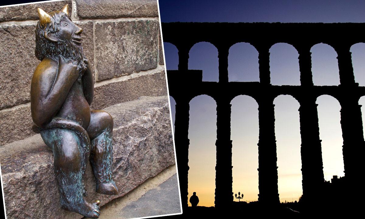 lijevo: kip đavla u njemačkom Lübecku; desno: akvadukt u Segoviji