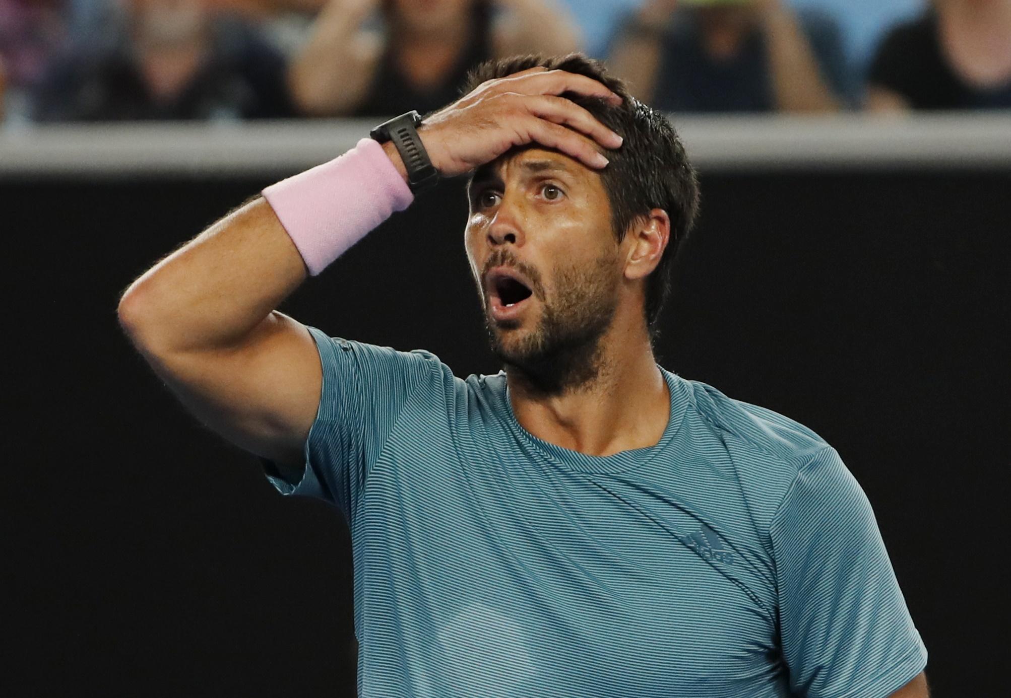 Tennis - Australian Open - Third Round - Melbourne Park, Melbourne, Australia, January 18, 2019. Spain's Fernando Verdasco reacts during the match against Croatia's Marin Cilic. REUTERS/Adnan Abidi
