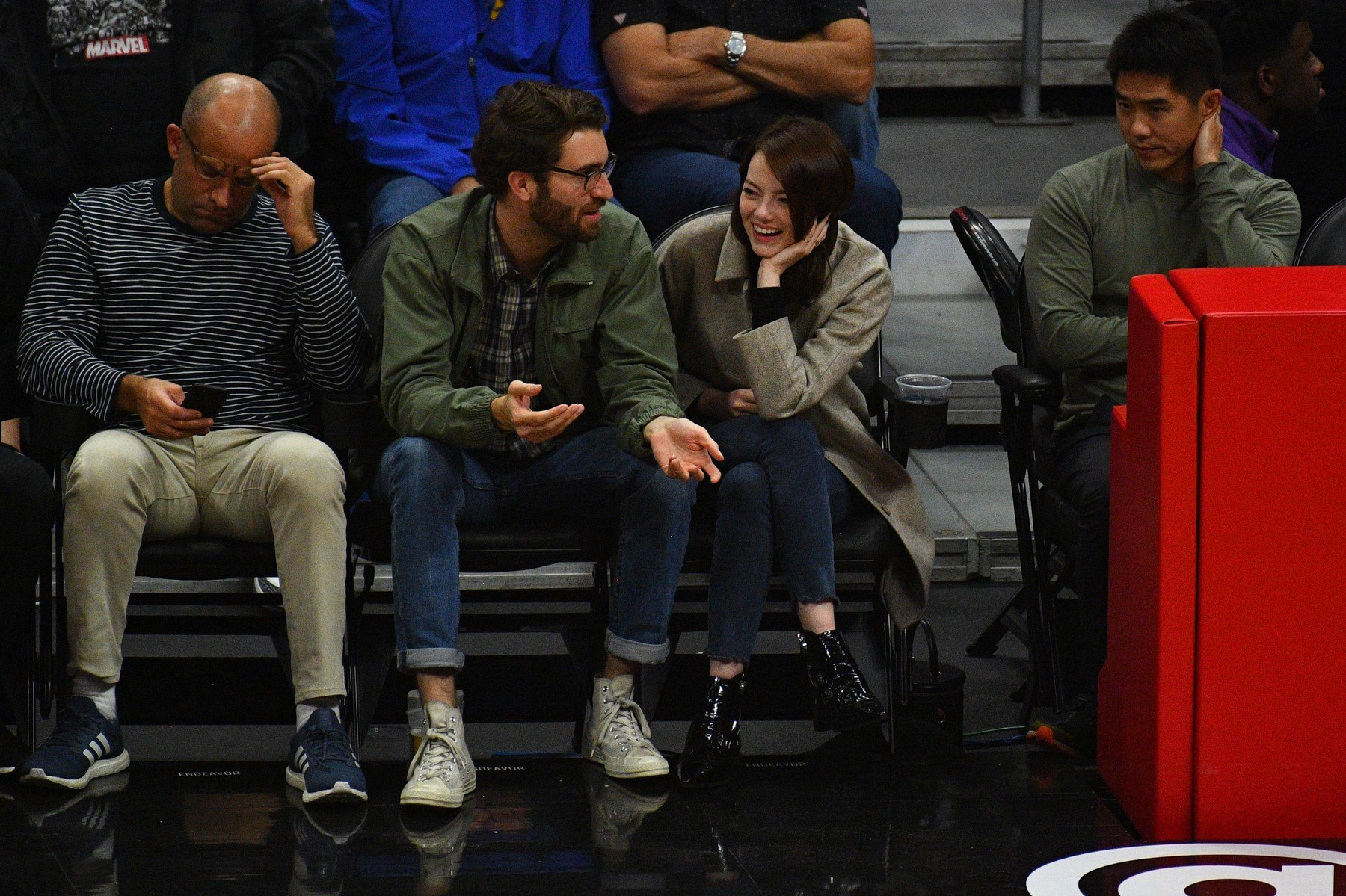 LOS ANGELES, CA - JANUARY 18: Actress Emma Stone and her boyfriend Dave McCary look on during a NBA game between the Golden State Warriors and the Los Angeles Clippers on January 18, 2019 at STAPLES Center in Los Angeles, CA., Image: 408646824, License: Rights-managed, Restrictions: FOR EDITORIAL USE ONLY. Icon Sportswire (A Division of XML Team Solutions) reserves the right to pursue unauthorized users of this image. If you violate our intellectual property you may be liable for: actual damages, loss of income, and profits you derive from the use of this image, and, where appropriate, the costs of collection and/or statutory damages up to 0,000 (USD)., Model Release: no, Credit line: Profimedia, Newscom